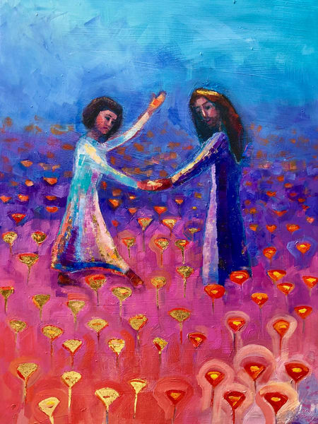 Prophetic  art by Monique Sarkessian Painting Poppy Field Turns Gold, Oil, 24x18