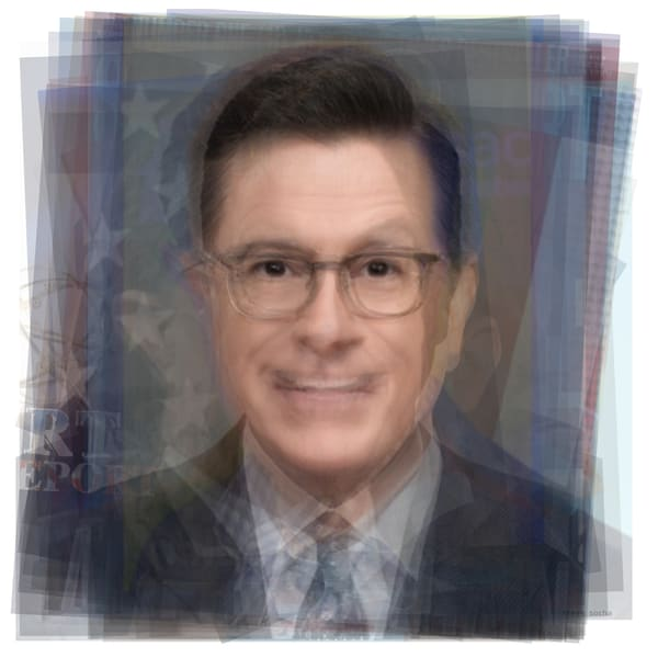 Overlay art – contemporary fine art prints of a portrait of Stephen Colbert
