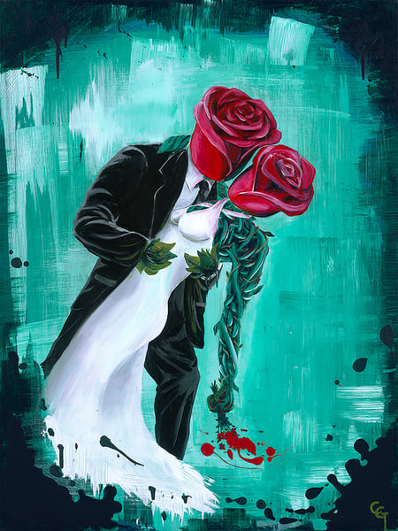 Long Stem Wedding Original Painting Art by Portland Artist Christian from Cool Art House