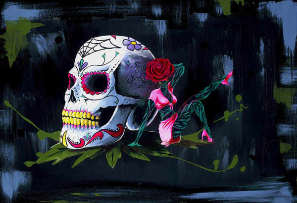 Vida Y Muerte Original Painting Art by Portland Artist Christian from Cool Art House