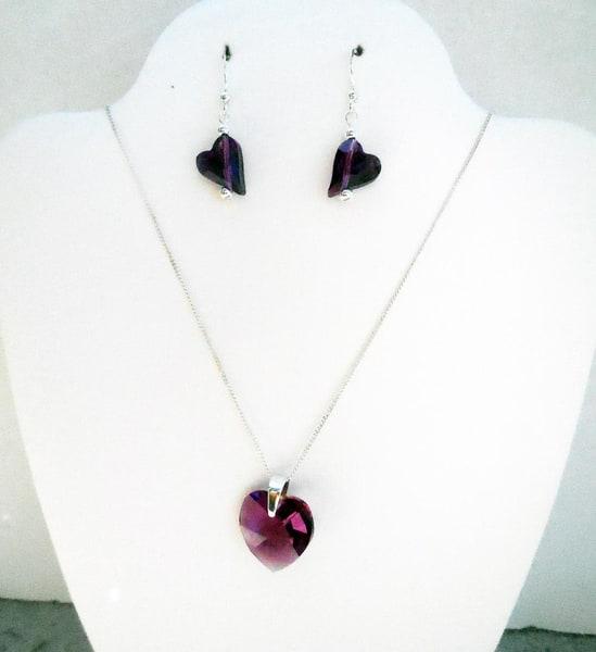 K Thierstein   Swarovski Amethyst Pendant Ss Earrings Chain | Branson West Art Gallery - Mary Phillip