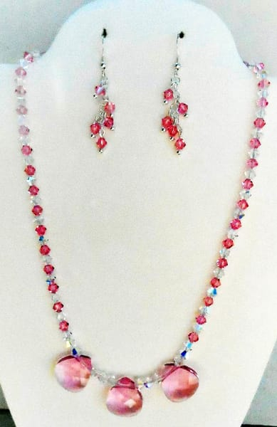 KThierstein-Swarovski-Rose-Necklace and Earrings