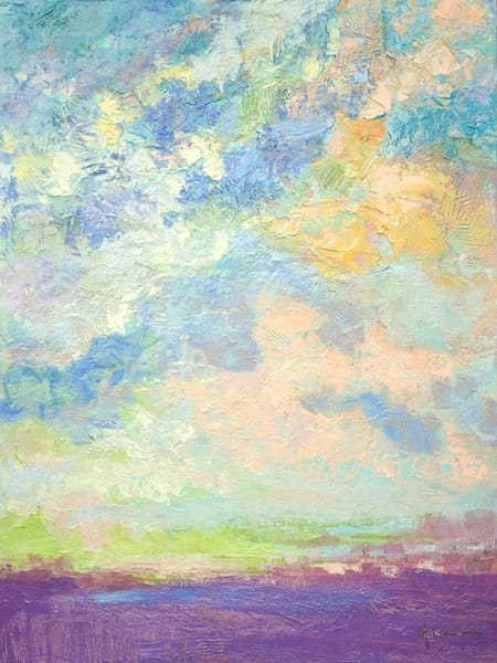 Uplifting Painting Pastel Clouds Breaking Through by Dorothy Fagan