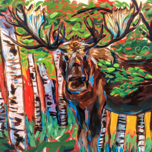 Bauhaus Moose  Art | Amanda Faith Alaska Paintings / Estuary Arts, LLC