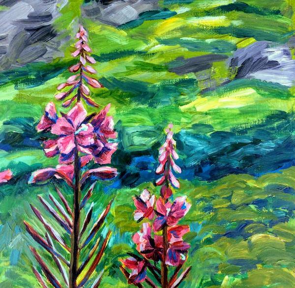 Fireweed In The Green Valley   Alaska Art Print Art | Amanda Faith Alaska Paintings / Estuary Arts, LLC