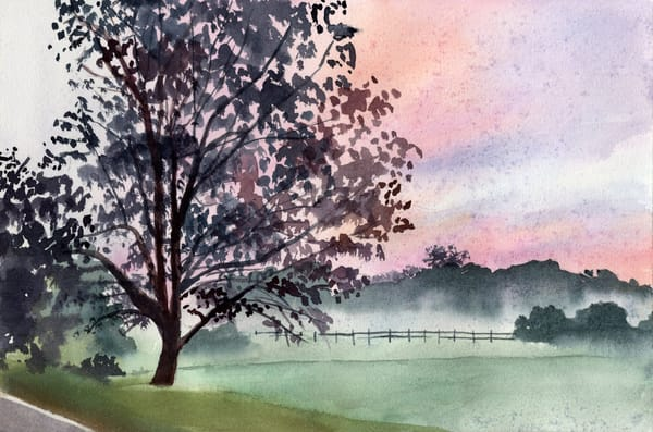 Foggy Autumn Sunrise Watercolor Print