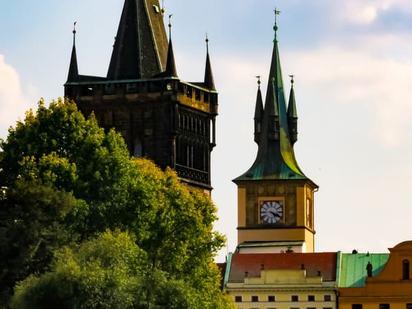 Because one spire is never enough, approaching Charles Bridge on Vltava River, Prague, Czechia