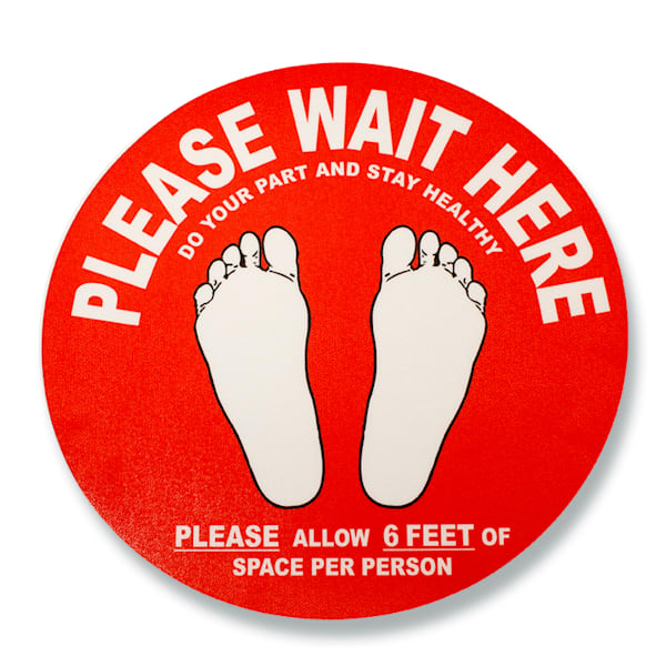 """Graphical """"Please Wait Here"""" Floor Signs"""