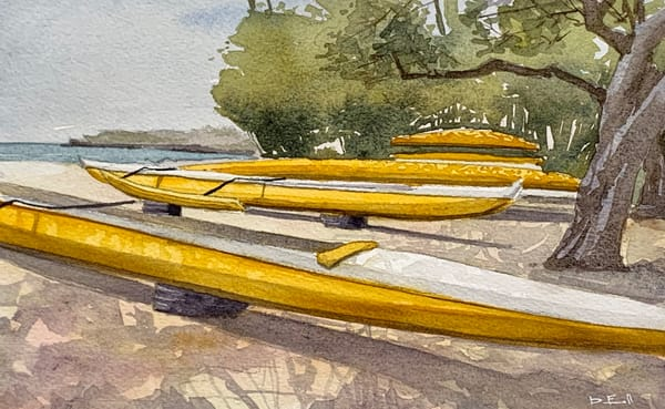 hawaii, canoe, yellow, outrigger, beach, lanai