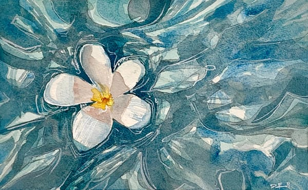 maui, watercolor, art, plumeria, water