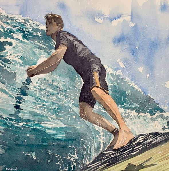 surfing, surf, honolulu, watercolor, art, ocean