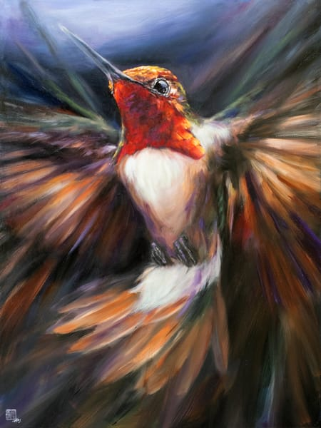 Make a bold statement in your home or office with this bright hummingbird artwork by Ans Taylor