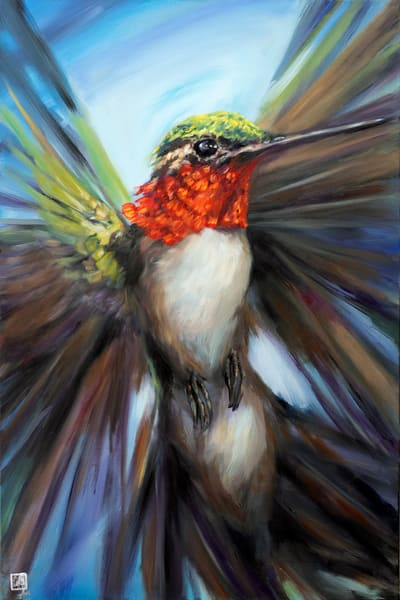 Audacity - Make a bold statement in your home or office with this bright hummingbird artwork by Ans Taylor