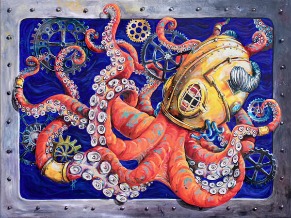 Octopus painting | Art for sale by Tif Choate, Fine Art prints | Snaiil Candy Art |  original paintings by Tif Choate | Otto's Collection of Gears | Vintage scuba helmet