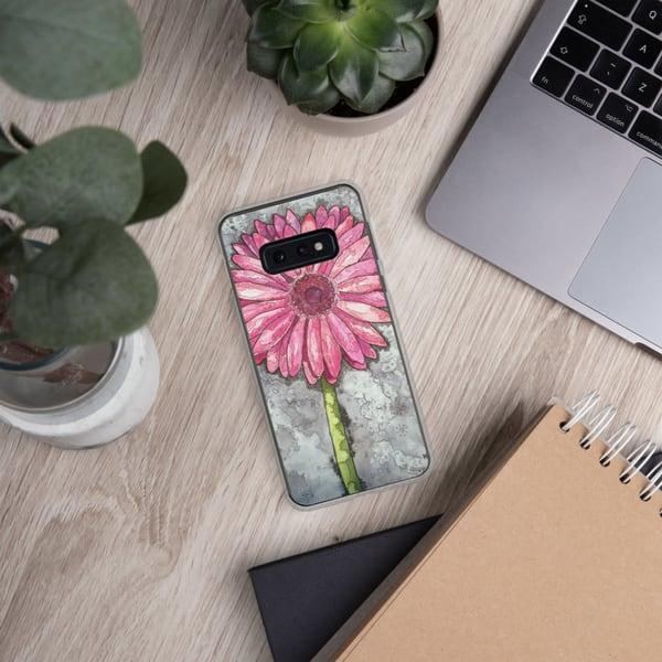 Pink Gerber Samsung Phone Case   Water+Ink Studios