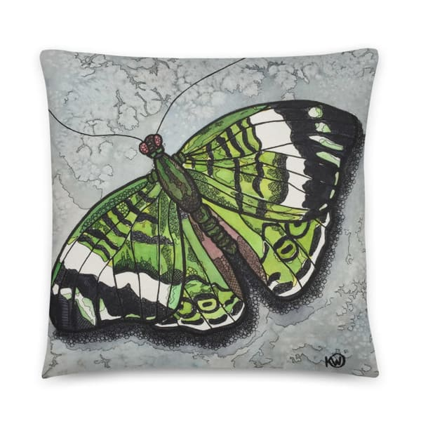 Emerald Butterfly Pillow | Water+Ink Studios