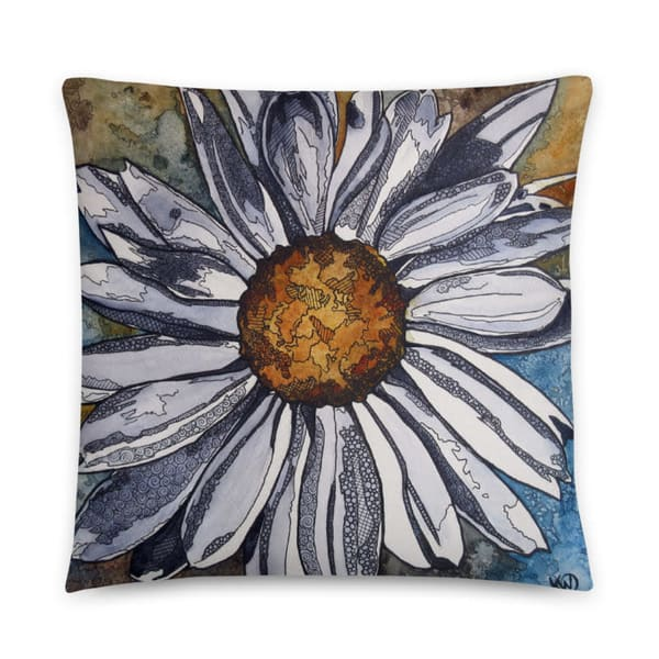 White Daisy Pillow | Water+Ink Studios