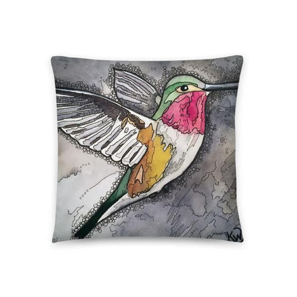 Hummingbird #2 Pillow by waterplusink