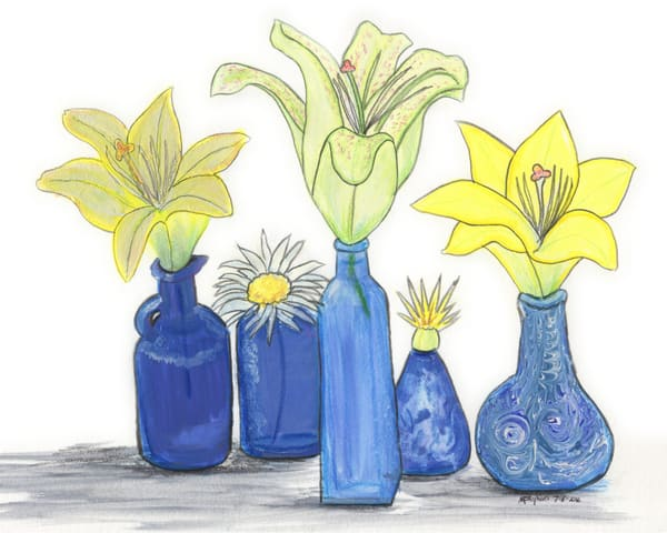 Lilies And Blue Vases Gouache 8x10 For Printing Marie Stephens Art Art   Marie Stephens Art