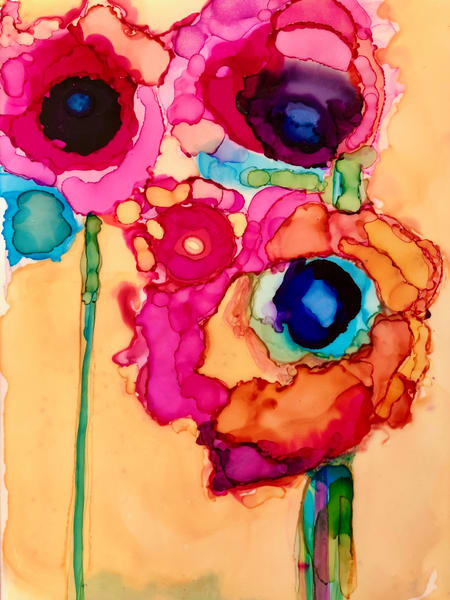 "Expressionist floral painting by Monique Sarkessian from my Heaven landscape paintings. This is ""Heaven Glory Carriers 9"" of wild growing poppies."