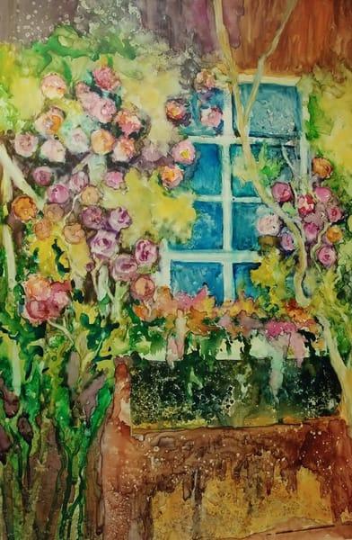 Climbing Roses, Original Watercolor Painting