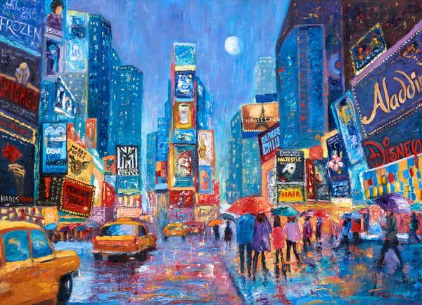 Times-Square, original-oil-painting, lovers, umbrellas