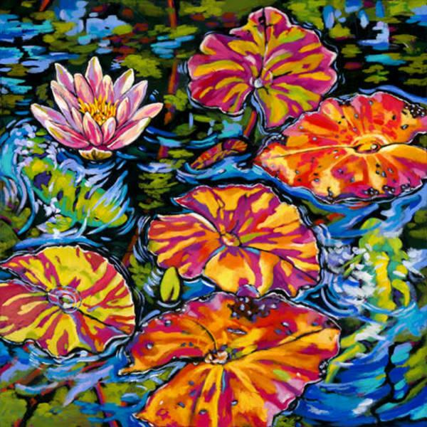 Lilies Dance With Koi | Sally C. Evans Fine Art
