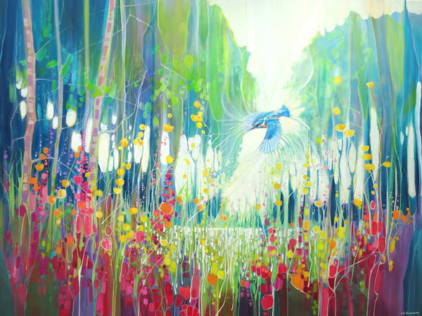 a large colourful oil painting of a kingfisher flying along a river bank of wildflowers in summer in Sussex.