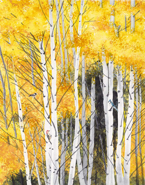 Birches And Birds Art | East End Arts