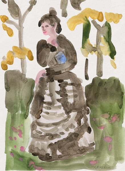 Book Lady Watercolor Painting by Annelie McKenzie