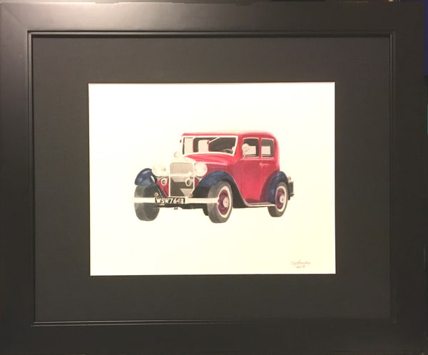 Old Packard, Original Colored Pencil Painting