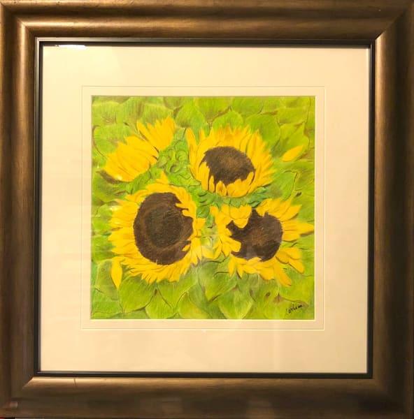 Sunflowers, Original Colored Pencil Painting