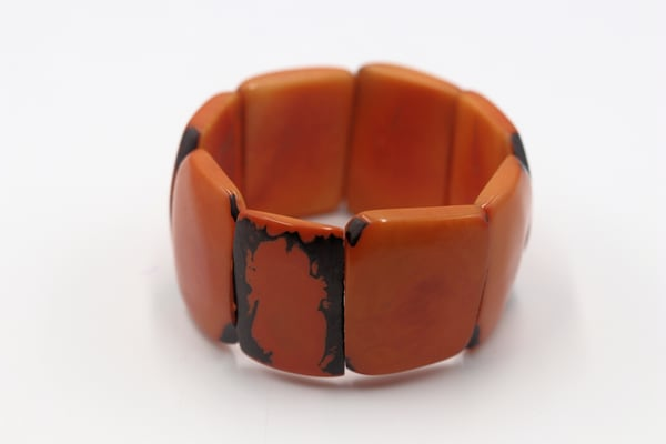 Handmade Tagua Nut Jewelry Orange Bracelet