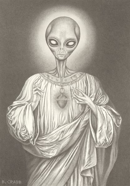 Sacred Heart Alien Jesus, Fri Jul 26, 2019,  7:20:55 PM,  8C, 4296x6018,  (1022+1580), 100%, low contrast 8,  1/30 s, R54.5, G45.4, B87.1