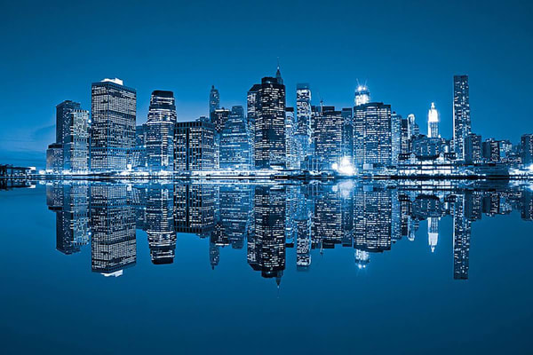Blue City Reflection - New York Wall Murals