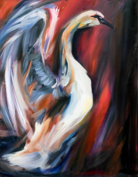 Buy prints of the original oil painting Wild Swan by Ans Taylor
