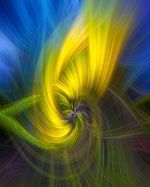 Yellow Blue Green Twirl Photography Art | Leiken Photography