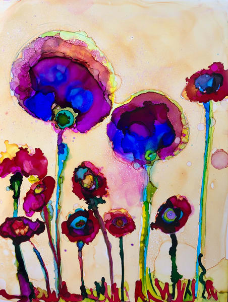 "Stunning expressionist floral painting by Monique Sarkessian of my Heaven landscape paintings ""Heaven Landscape Glory Carriers 12"" of wild growing poppies."