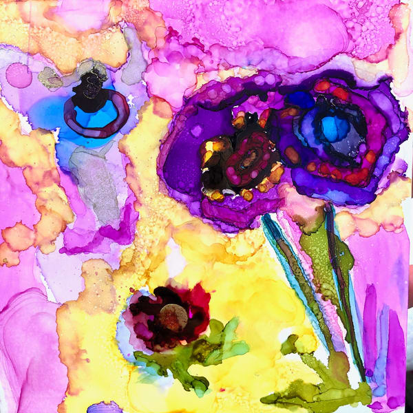 """Heaven Glory Carriers 10"" of wild growing ranunculus and flowers with alcohol inks by Monique Sarkessian on wood panel. Will be framed with a white wood floater frame."