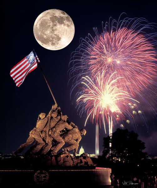 Iwo Jima Fireworks Moon Photography Art | vitopalmisano