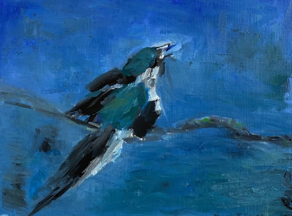 blue bird oil painting on paper
