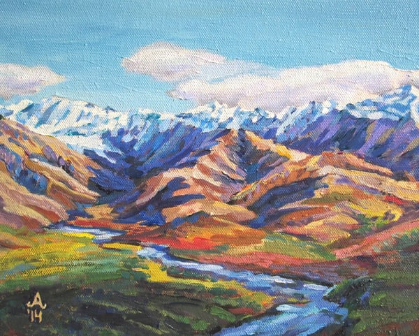 Prismacolor Mountains in Denali Alaska Art Print by Amanda Faith Thompson
