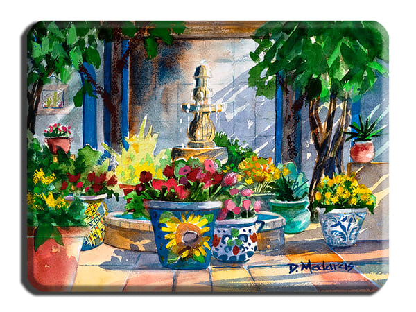 Courtyard Splendor Large Cutting Board | Madaras Gallery