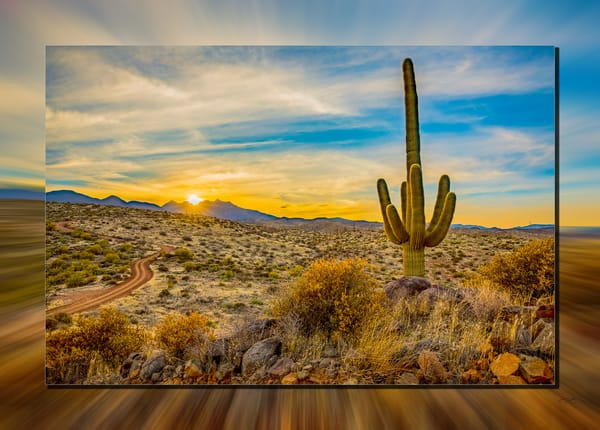 Four Peaks North Side Sunset 3 D Photography Art | Whispering Impressions