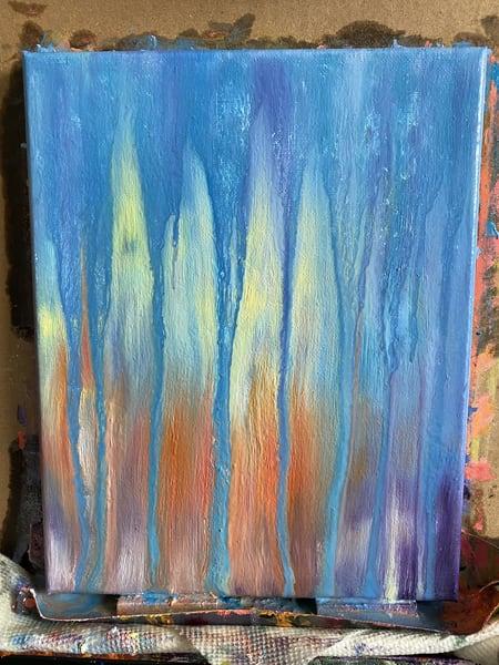 Day 23 Blue And Orange Sunset Rain Art | Rachel Brask Studio, LLC
