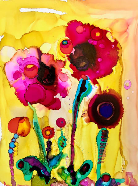 "Stunning expressionist floral painting by Monique Sarkessian my Heaven landscape paintings. This is ""Heaven Glory Carriers 14"" of wild growing poppies."