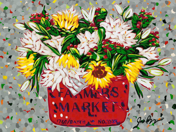 Country Floral is a fine art print of sunflowers and lilies in a red bushel basket.