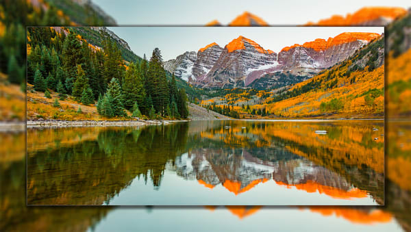 Maroon Bells Sunrise Pano 3 D Photography Art | Whispering Impressions