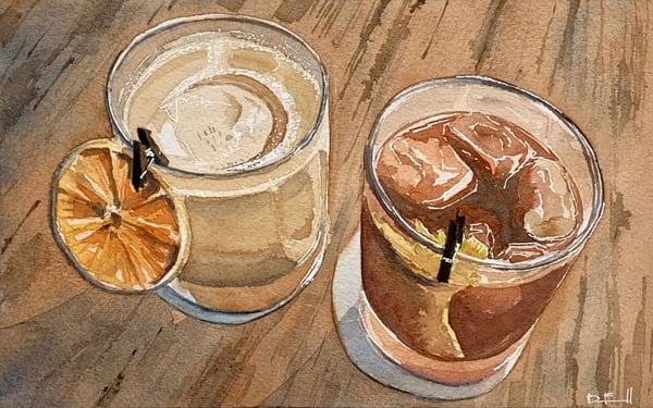 cocktail, watercolor, art, maui, millhouse