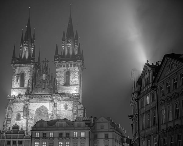 Lights of Old Town - Black and White - Art Print